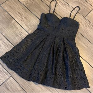 Aqua - Little Black & Gold Lace Dress